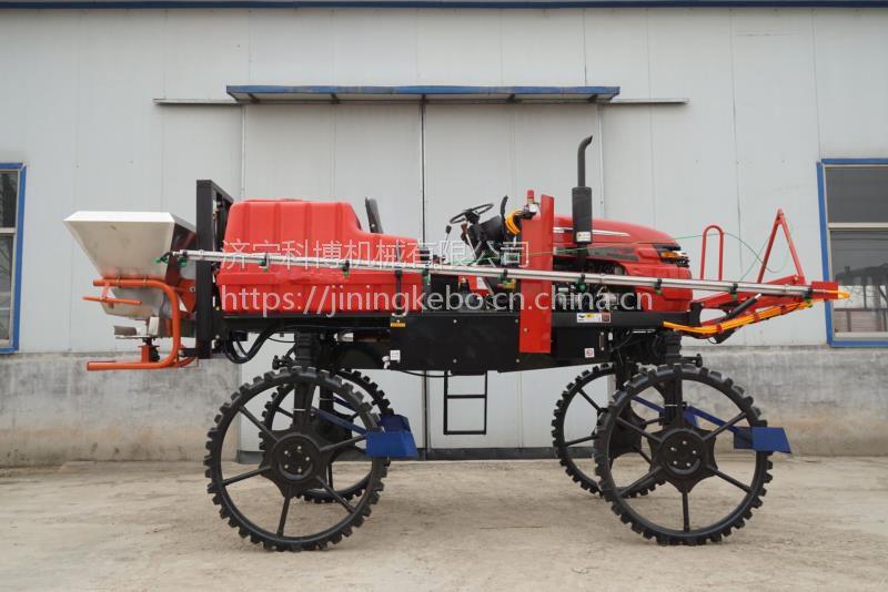 山东大型农药机厂科博供四轮自走式打药机适合小麦玉米水稻等高杆作物