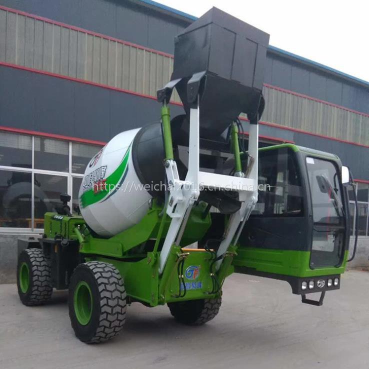 新疆和田2.6方小型自动上料混凝土搅拌车 水泥混凝土路面施工专用移动式搅拌机