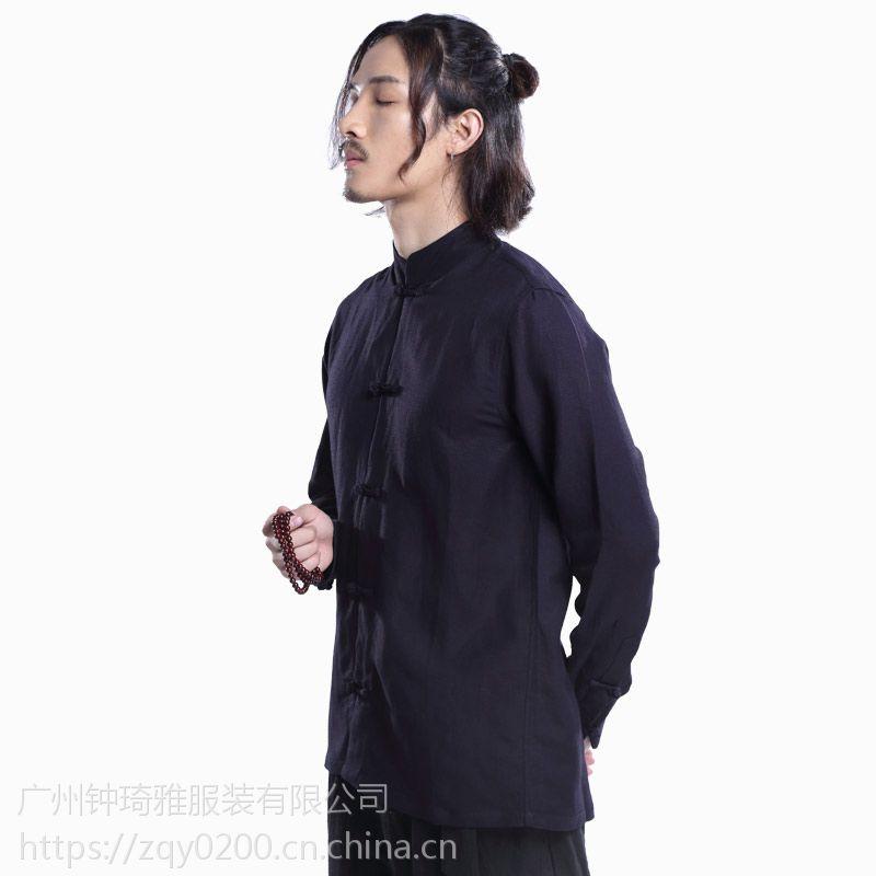 夏新款中国风男式唐装汉服民族盘扣上衣青年棉麻男士衬衫纯色批发
