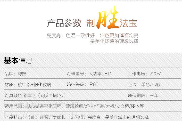 【粤耀】高功率洗墙灯桥梁酒店单色dmx512七彩60w72w