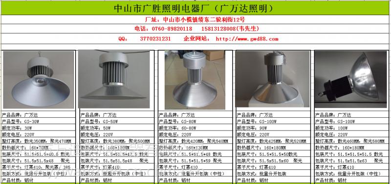 广顺直销质保三年LED式矿灯 仓库LED高灯工矿灯