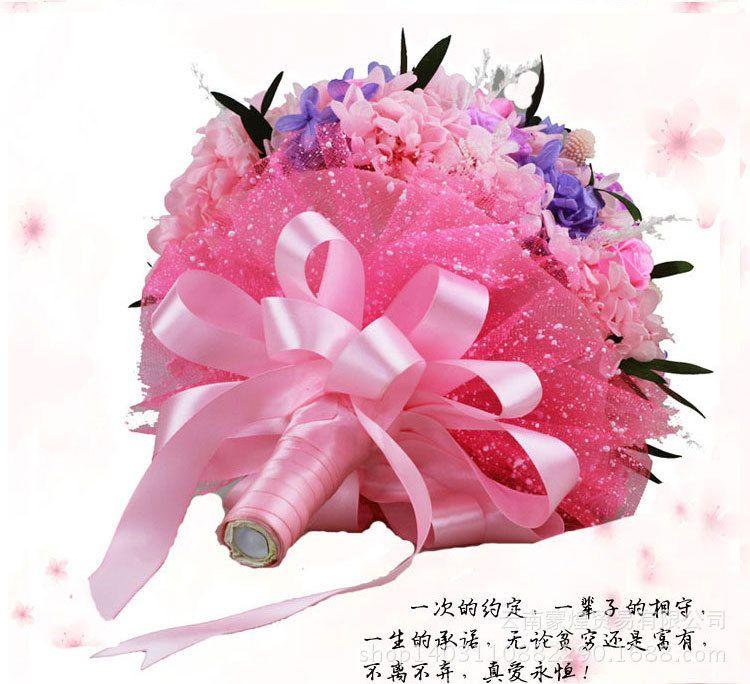新款时尚款韩版永生玫瑰保鲜花朵中式新娘求婚手捧花 婚礼用品图片