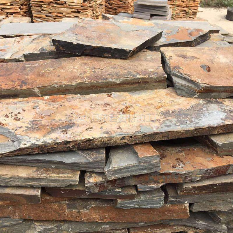 厂家直销 板岩文化石 锈色乱形 碎拼石板 不规则片石 园林广场小区铺地 多种规格