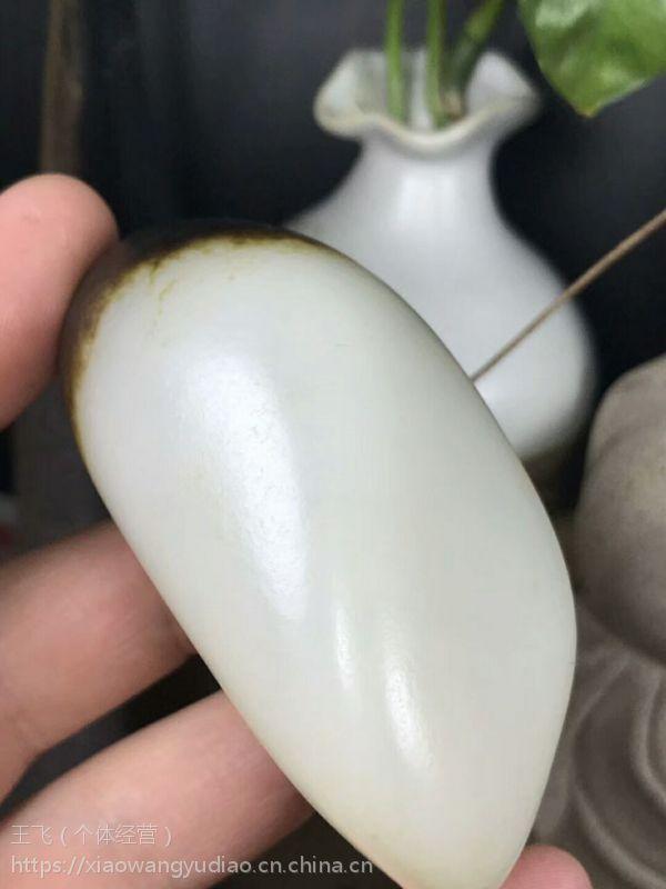 小王玉雕工作室,和田玉独籽玩料,万年黑皮籽料原石