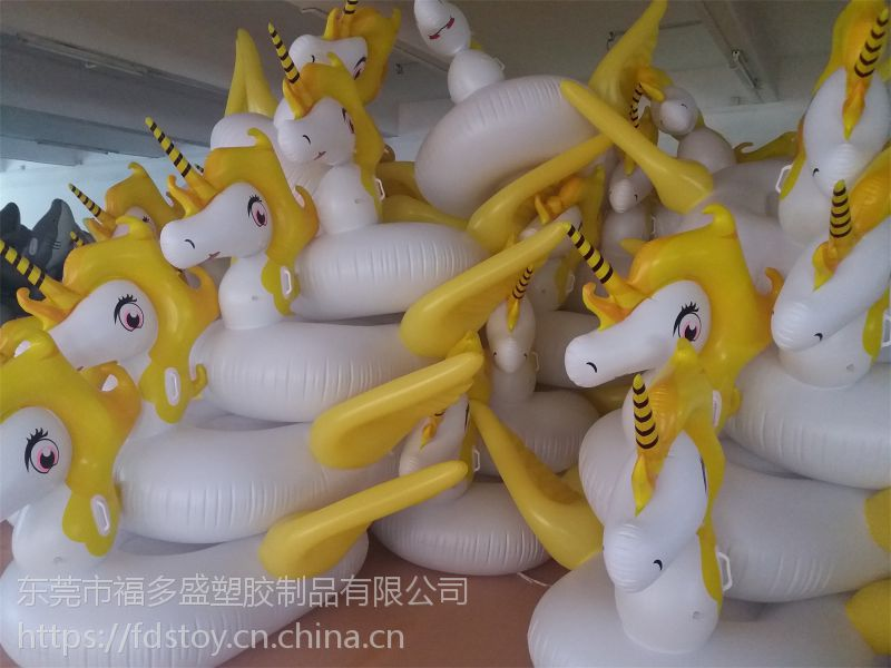 厂家直销环保PVC充气飞马浮排 独角兽浮排 水上玩具 接受定制