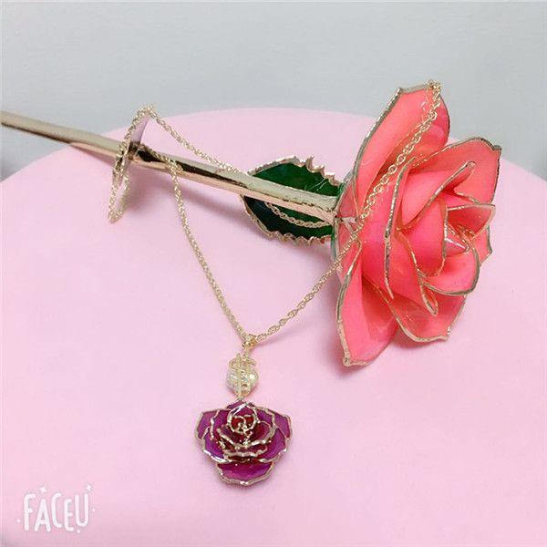 粉色金边玫瑰配合紫色镀金玫瑰吊坠 深情表白520