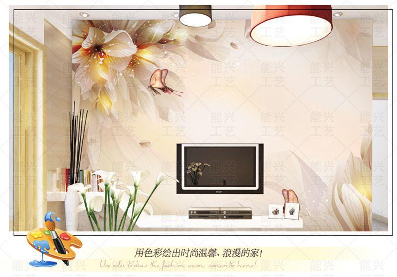 定制简约时尚花纹电视背景墙纸壁纸沙发卧室客厅影视墙壁画自粘图片