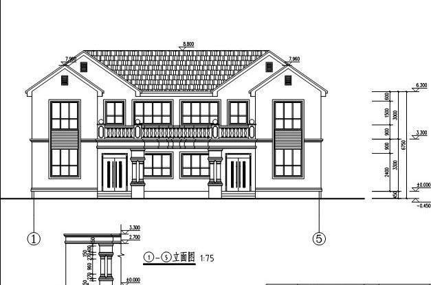 [永云结构]AT291比例带别墅图纸别墅阁楼大气cad二层1为更改双拼1图片