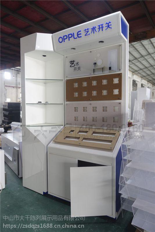 厂家设计 欧普电工展板展示柜 精美木烤漆OPPLE专卖店木展柜