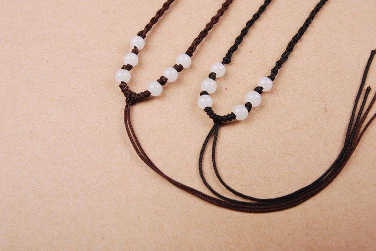 单条绳子的编�_6珠玉线项链绳子 手工编织玉石翡翠吊坠项链挂绳批发 全网