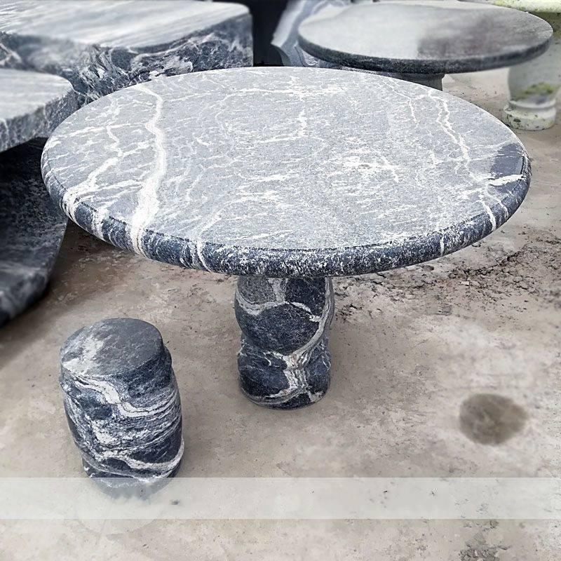 石雕石桌石凳雪浪石天然花纹圆形桌椅一套大理石户外庭院休闲茶几棋盘曲阳万洋雕刻厂家定做