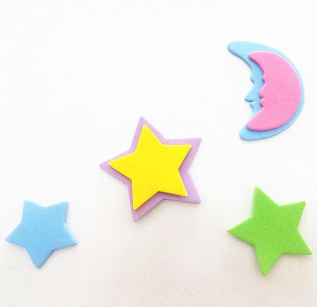 厂家直销 批发供应幼儿diy手工制作材料eva卡通贴纸 星星月亮1