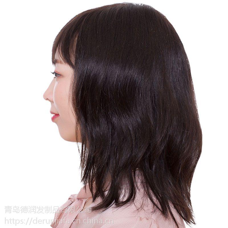德润假发 女 短卷发 发套 中老年假发 递针 逼真 真人发