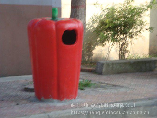 公园玻璃钢果蔬垃圾桶雕塑