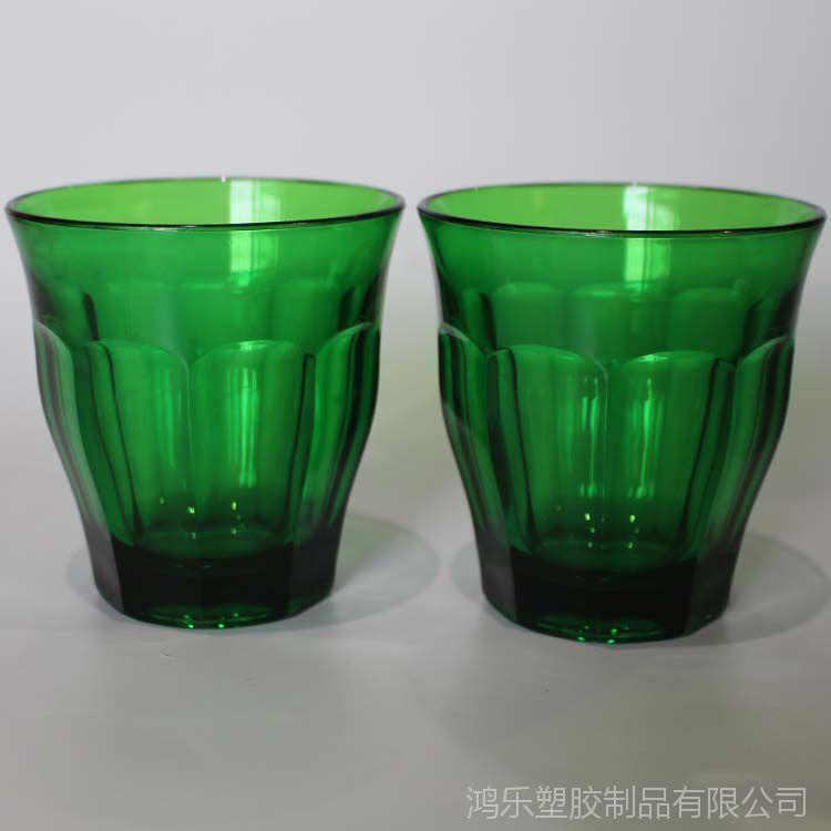 八角塑料酒杯多边棱角杯8ozAS透明绿色塑料啤酒杯可定制LOGO