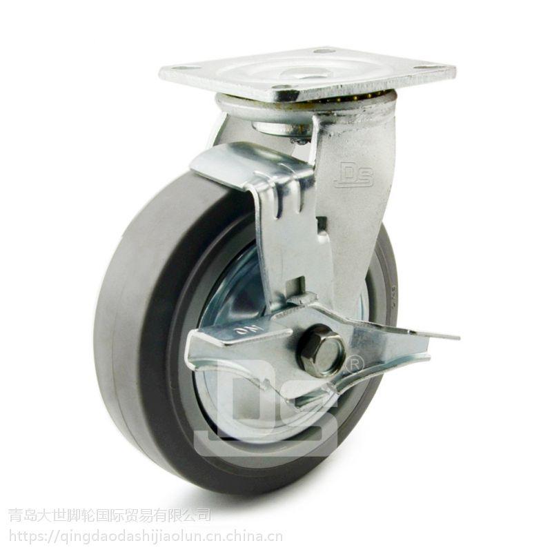 大世脚轮 重型平边推车轮子 静音刹车轮 优质TPE弹力脚轮 坚固耐用