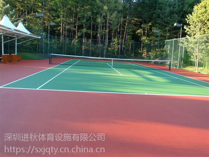 材料施工 深圳硅PU网球场地坪工程 网球场地标准尺寸