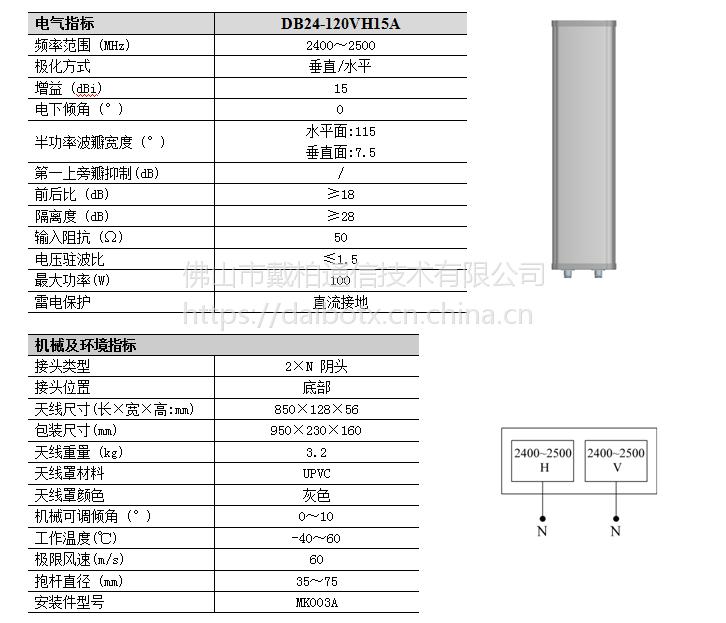 DB24-120VH15A 大角度2.4 G双极化 通信系统天线