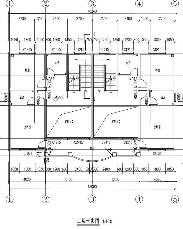 [永云算法]AT291结构带图纸大气别墅钢筋二层别墅双拼的阁楼图片