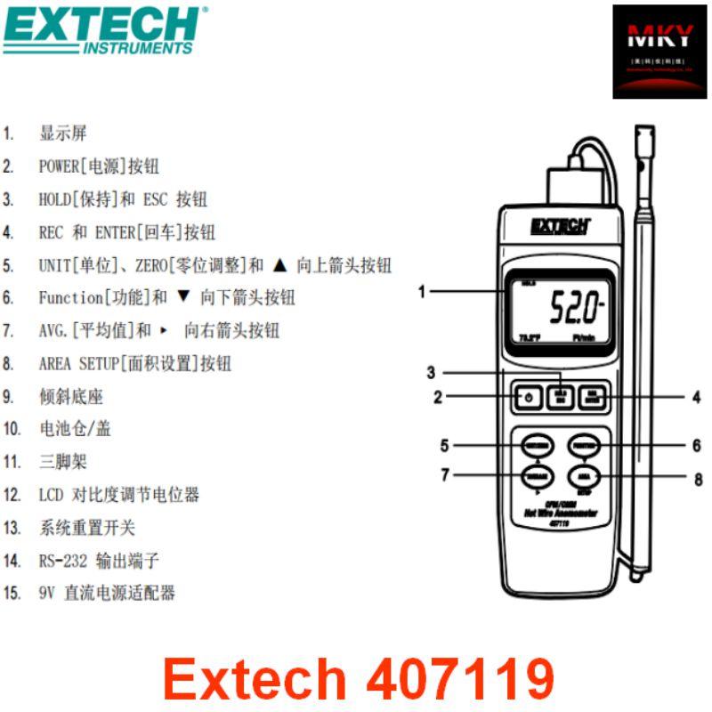 美国Extech 407119手持式重型CFM热线式风速仪