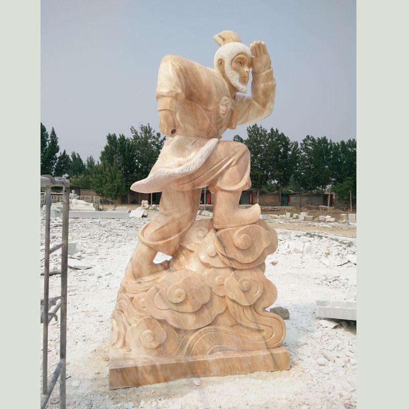 晚霞红石雕十二生肖猴子雕塑公园摆件石猴