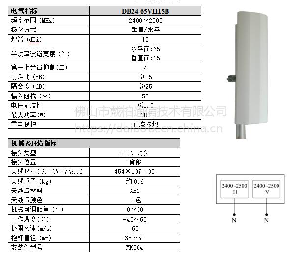 DB24-65VH15B 2.4 GHz ISM 频段 通信系统天线