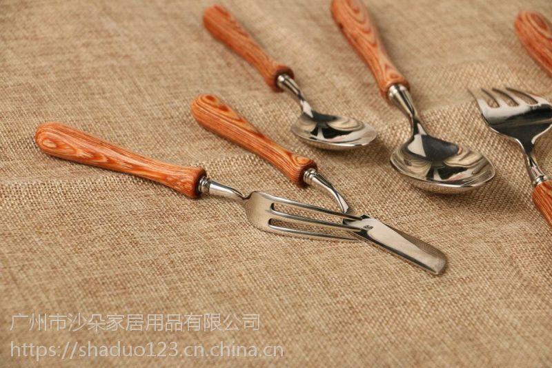 楼兰木柄系列创意刀叉勺日韩风彩木拼接304不锈钢家用摆台餐具