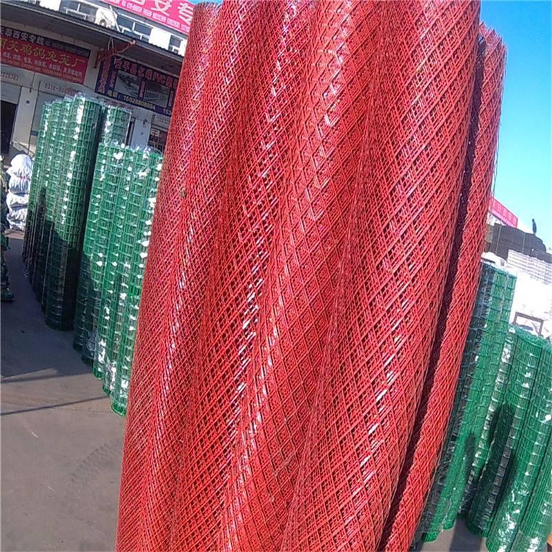 平台钢板网 装饰菱形板 红色圈地网