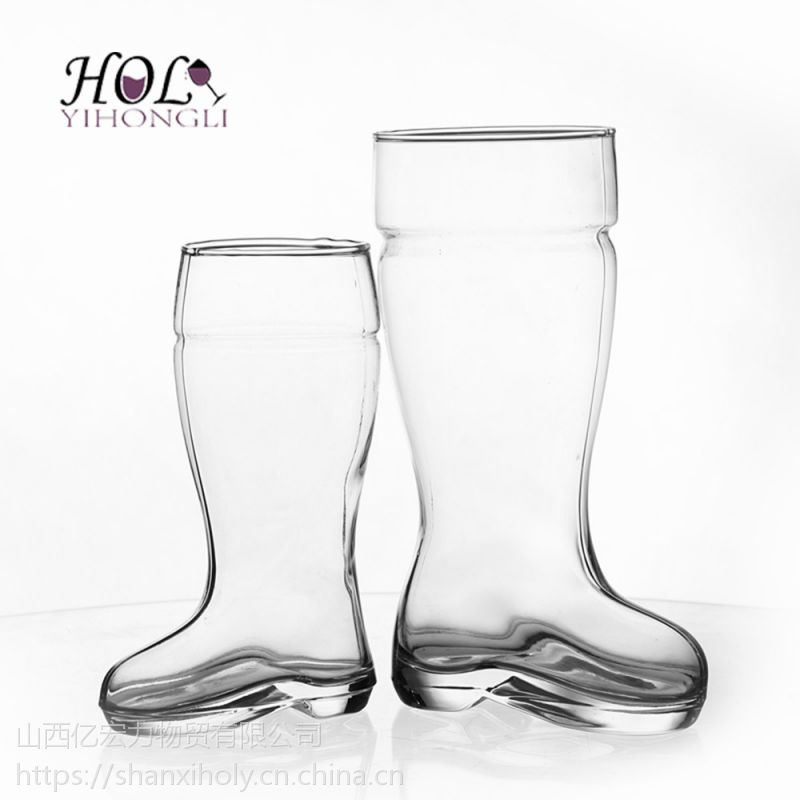 HOLY人工吹制个性男女玻璃靴子啤酒杯