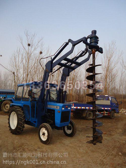 拖拉机改装挖坑机 液压挖坑机 水泥杆钻孔机 汇能图片