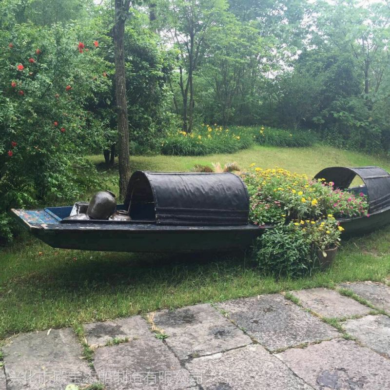 殿宝木船加工定制 传统仿古做旧 欧式木船 装饰船