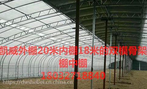 凯威26米单双梁组装的100型双模骨架大棚生产厂家
