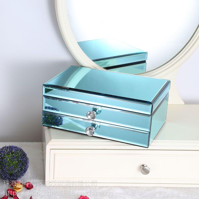 鸿茂玻璃厂家定制代加工玻璃首饰盒收纳盒礼品盒家居饰品