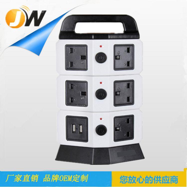 JW203热销款创意塔式美规插座插线板带4USB 二层美规USB智能插座