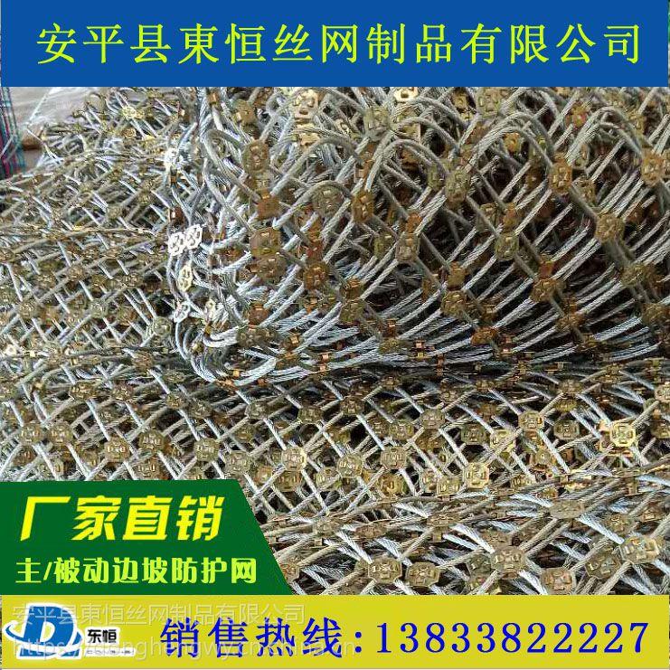 主动边坡防护网@国标山坡拦石网 非标钢丝绳网 柔性防护网