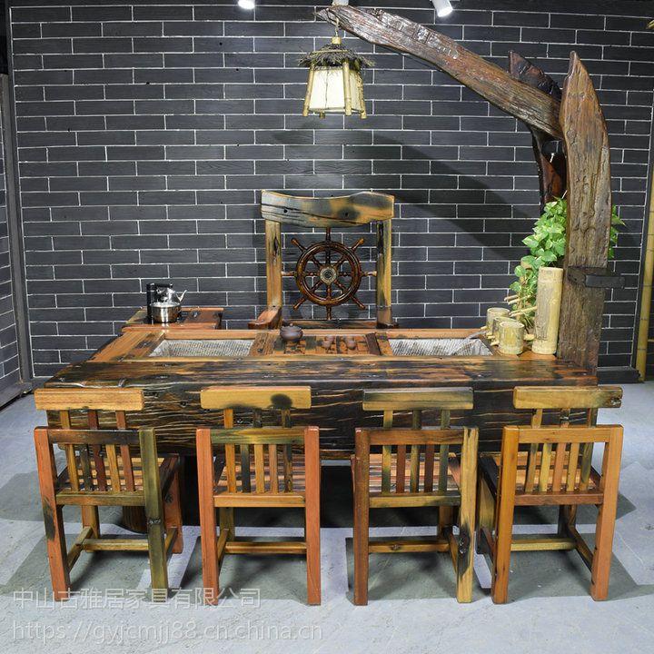 广东实木家具 老船木茶桌 茶台 茶几 客厅现代茶艺桌 小户型茶台