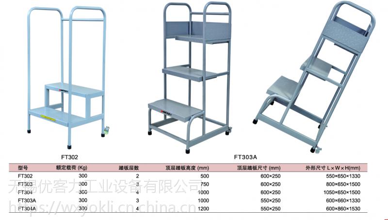 专业定制yokli优客力FT303A钢制斜拉式踏板梯,仓库,超市理货之用