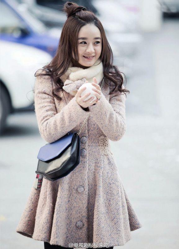 杉杉女装跺(h�(�_女装 上装 其他女式上装 杉杉来了赵丽颖明星同款 韩版立领毛呢蕾丝腰