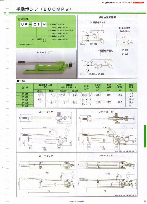 日本riken理研手动液压泵UP-21M