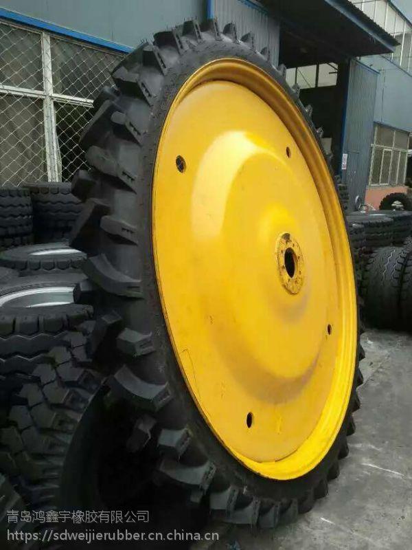 青岛供应前进植保机轮胎12.4-48超高大花纹12.4-48轮胎钢圈厂家配套