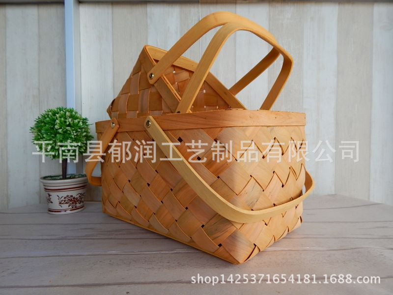 原木出口*动物木片编织收纳篮*木篮子*手便利乐园厂家提篮贴图片