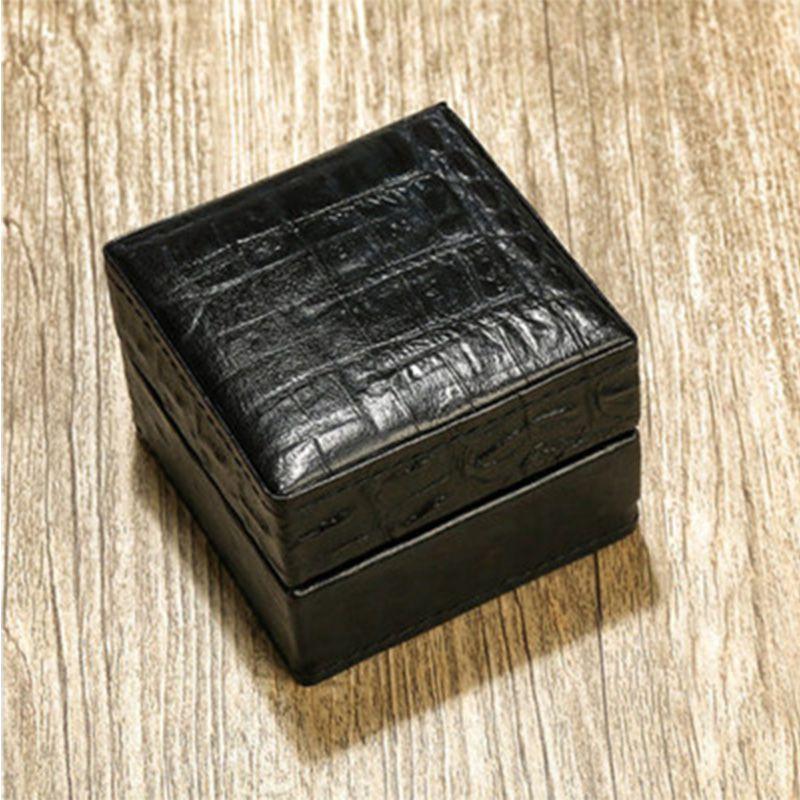 求婚戒指盒鳄鱼纹头层牛皮LED灯钻戒盒 对戒盒项链吊坠盒子批发