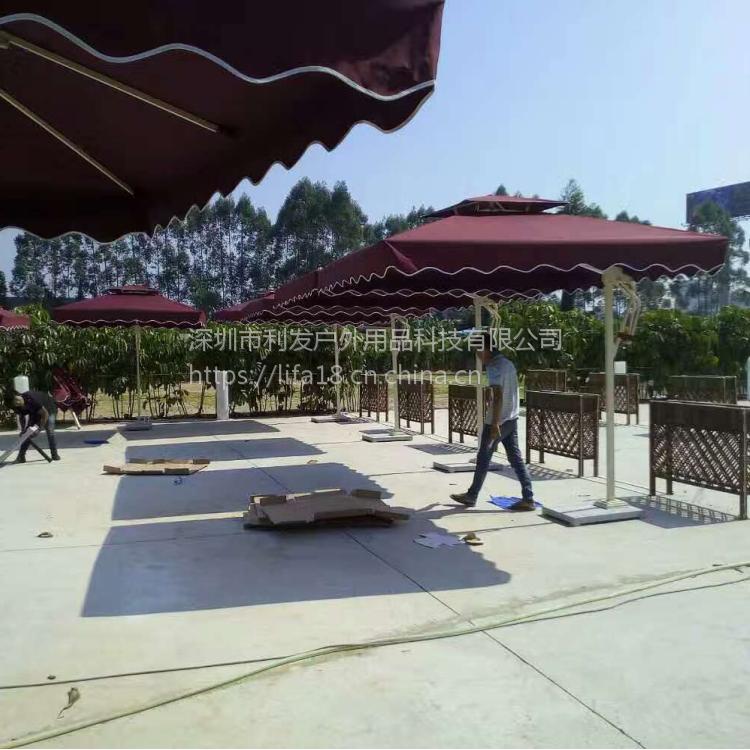 方形遮阳伞侧立伞铝合金边柱伞定制可印LOGO深圳可免费安装个调试外省可发物流