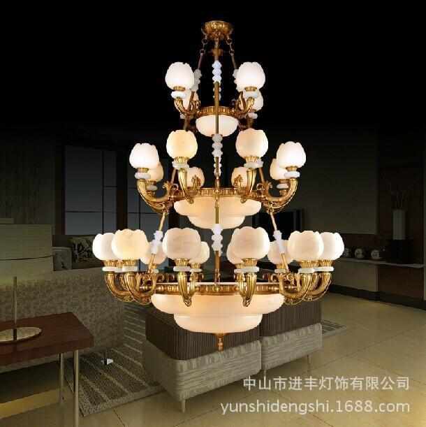 豪华别墅客厅楼梯大型吊灯 欧式全铜复古云石灯 复式楼客厅大吊灯图片