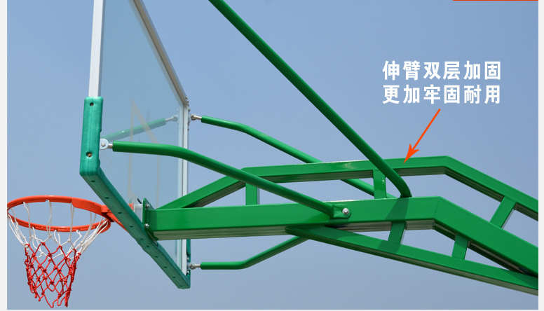 广西崇左市可移动式篮球架透明钢化玻璃篮板厂家供应-飞跃体育