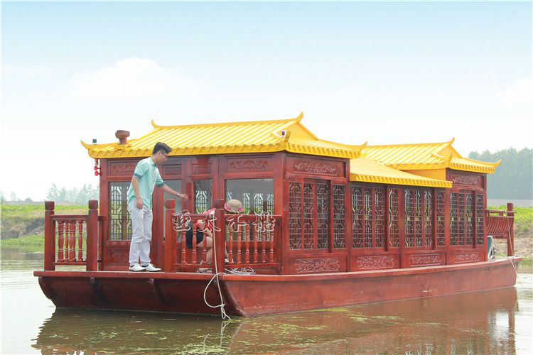 亚太厂家定制仿古餐饮画舫船水上餐厅船电动观光船