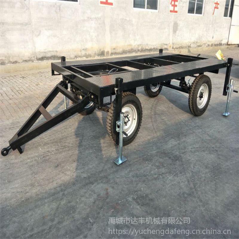 厂家定制各种规格平板拖车 农作物树木运输拖车底盘 活动板房运输车辆框架