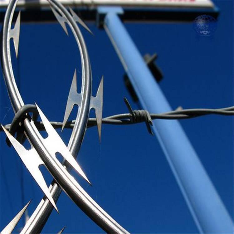 供应304刺绳 不锈钢刀片刺网 配套固定支架