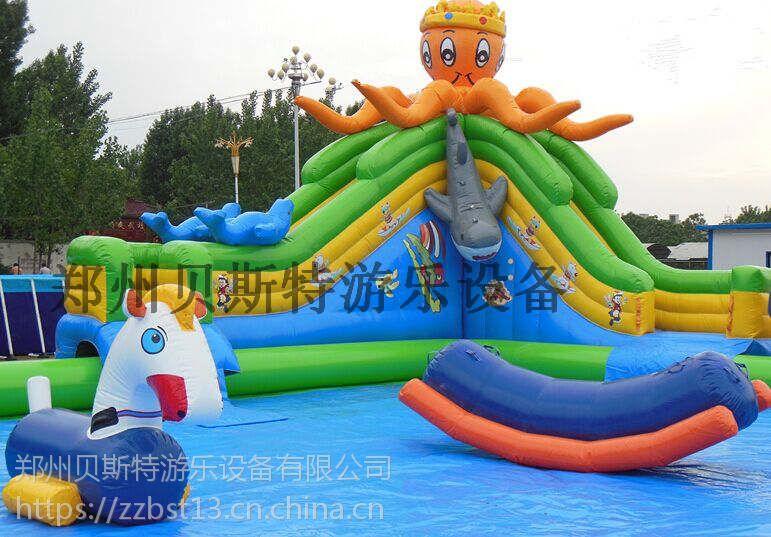 河南洛阳移动水乐园支架游泳池和水滑梯一起