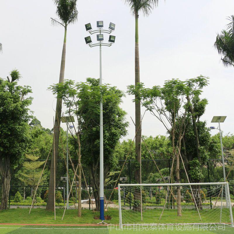足球场灯杆一柱两灯批发 中山球场照明灯具设计 柏克高杆灯批发